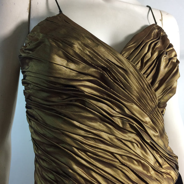 Burnished Gold Ruched Bodice Cocktail Dress circa 1980s
