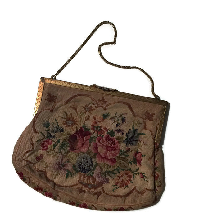 Romantic Floral Petit Point Embroidered Ivory Handbag circa 1930s