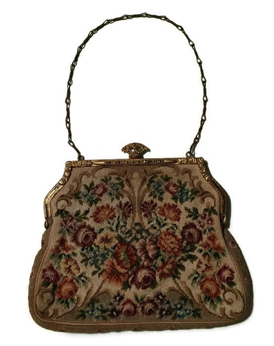 Pink Rose Floral Design Petit Point Embroidered Handbag circa 1930s