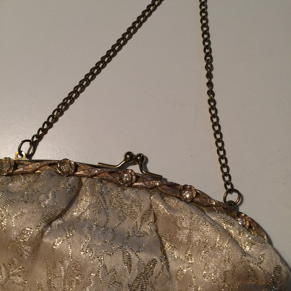 Lovely Golden Metallic Embroidered Champagne Silk Handbag w/ Rhinestones circa 1950s