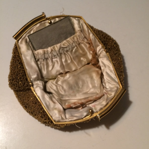 Luxe Amber Glass Beaded Evening Bag as is circa 1930s