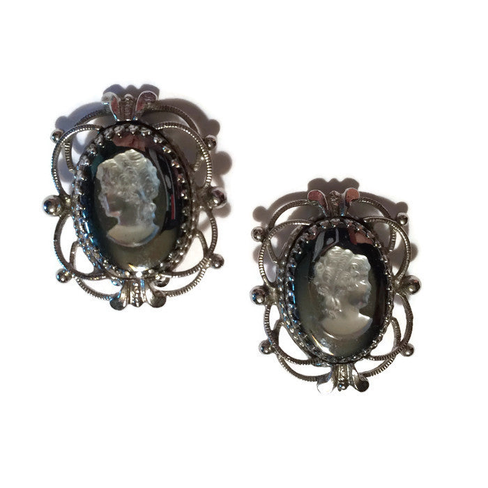 Cameo Style Glass and Silver Clip Earrings circa 1960s Whiting & Davis