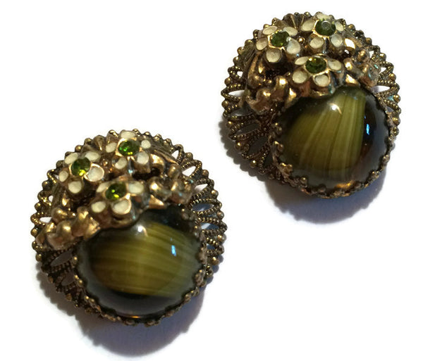 Marbled Green Earrings with Flowers and Rhinestones circa 1960s