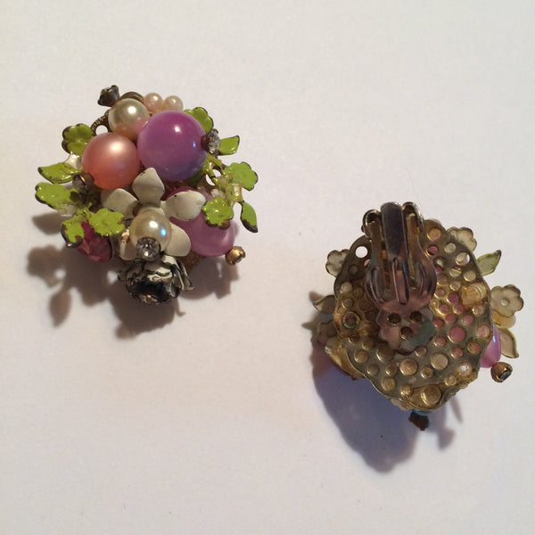 Pastel Bead, Rhinestones and Flowers Clip Earrings circa 1960s