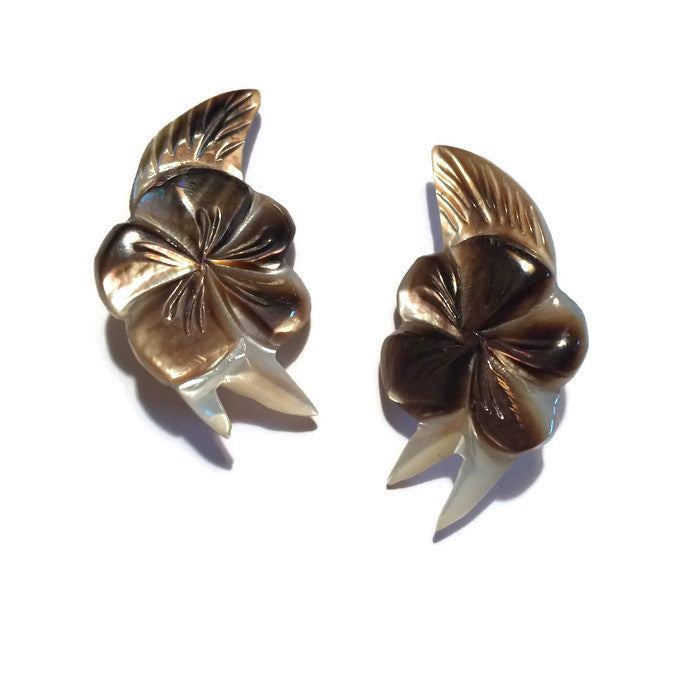 Carved Floral Abalone Shell Clip Earrings circa 1940s