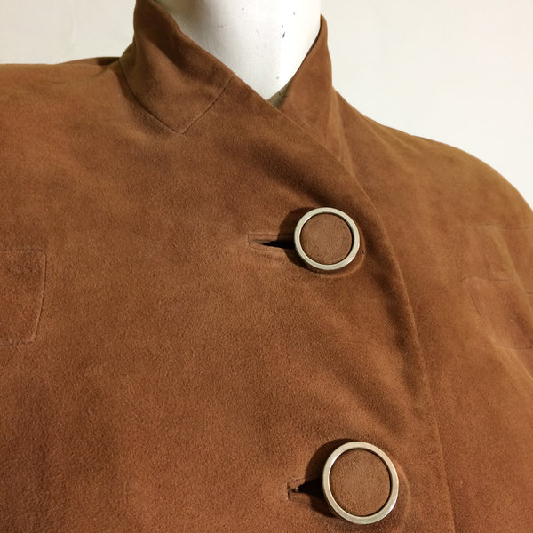RESERVED Classic Sporty Cinnamon Suede Nipped Waist Coat 1940s Gene Shelly