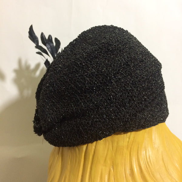 Ink Black Sisal Fitted Cap with Feather and Sequin Accent circa 1930s