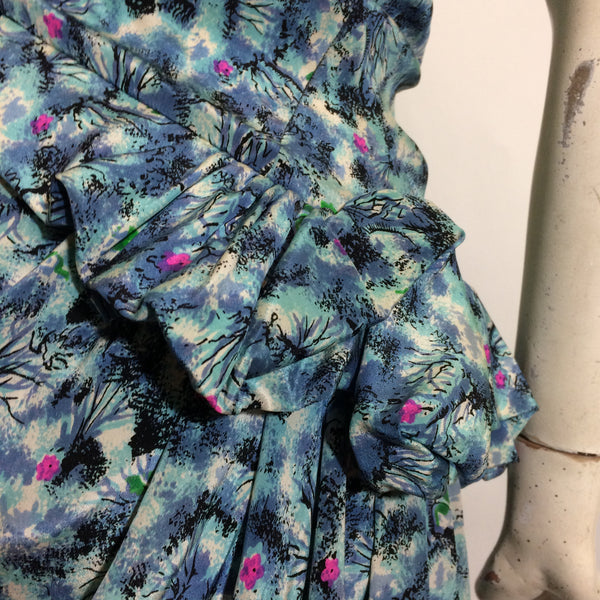 Undersea Fish and Flora Print One Shoulder Dress with Side Peplum circa 1940s
