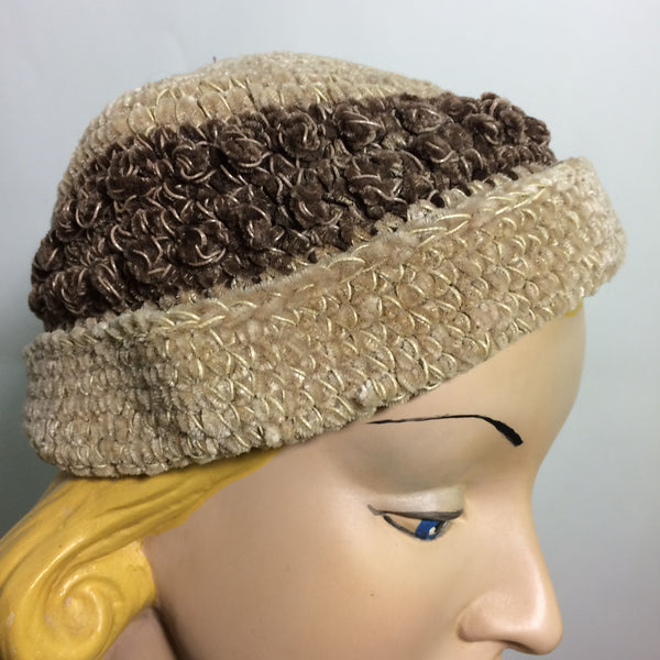 Fawn, Cocoa and Gold Chenille Cap Hat circa 1930s