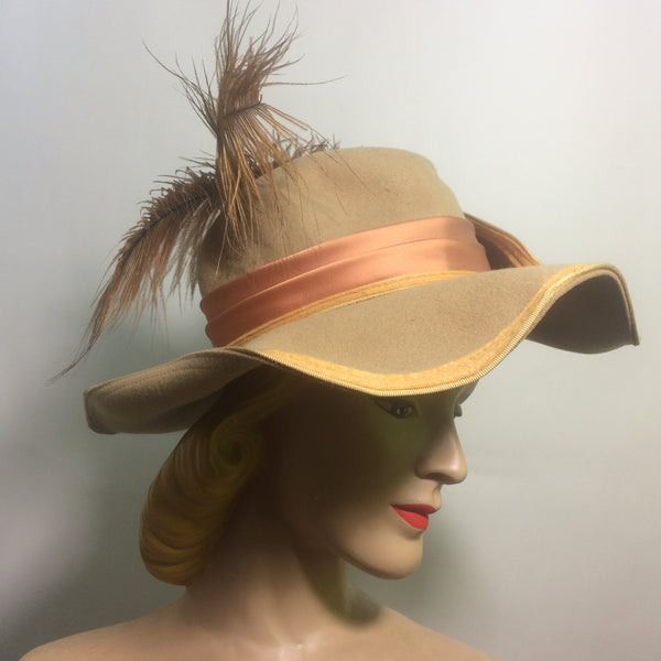 Jaunty Tan Structured Wool Hat w/ Feathers Turned up Brim circa 1960s