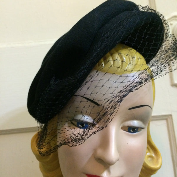 Starry Night Black Angled Wool Evening Hat w/ Veil and Stars circa 1930s