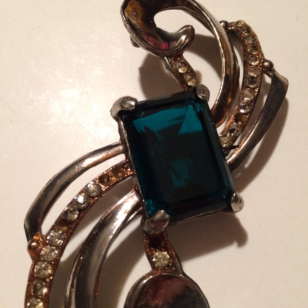 Teal Large Glass Center Brooch Piece (as is) circa 1940s