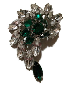 Elegant Green and Clear Rhinestone Statement Brooch circa 1960s