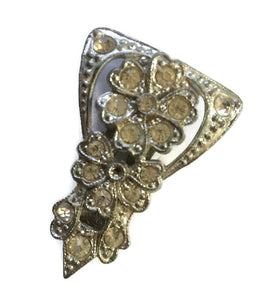 Sparkling Single Flower Rhinestone and Silver Tone Metal  Fur or Dress Clip circa 1930s