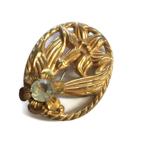 Art Nouveau Lily and Rhinestone Gold Tone Brooch circa 1900s
