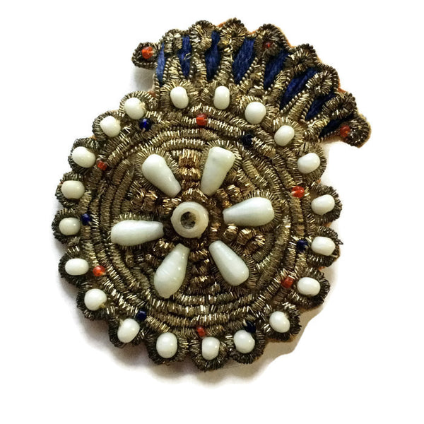 Beaded Fabric Crest Brooch w/ Gold Coil and Rhinestone Trim circa 1940s