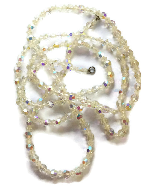 Glamstruck Lead Crystal Super Long Necklace circa 1940s