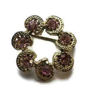 Sparkling Pink Rhinestone Crescent Moon Ring Brooch circa 1960s