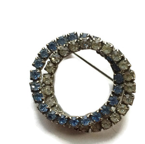 Double Ring Blue and Clear Rhinestone Brooch circa 1940s