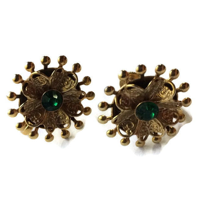 Emerald Green Rhinestone Filigree Edged Flower Earrings circa 1950s