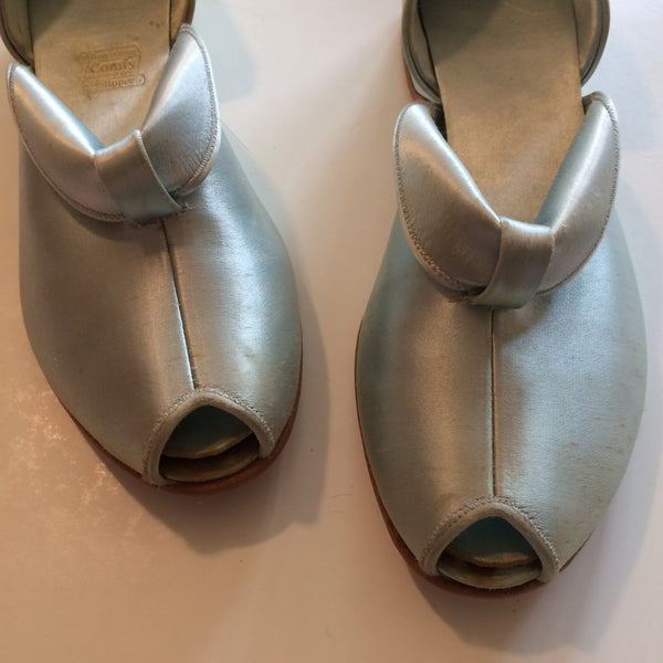 Porcelain Blue Satin Rolled Vamp Low Heel Boudoir Slippers circa 1950s