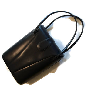 Navy Blue Hard Side Rounded Leather Handbag circa 1950s