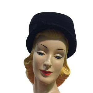 Classic Tall Black Velvet Toque Hat circa 1960s