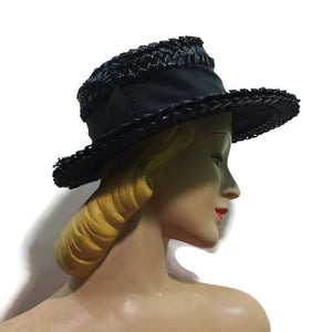 Black Braided Sisal Wide Brim Hat circa 1960s