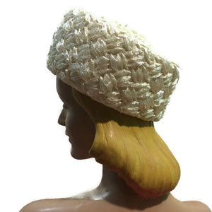 Wide Braided Ivory Cello Oversized Pill Box Hat circa 1960s
