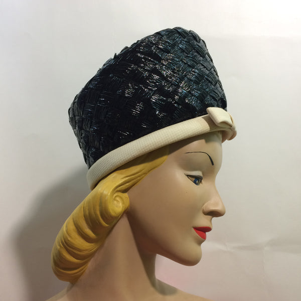 Chic Glossy Black Braided Cello Tall Front Hat w/ White Trim circa 1960s