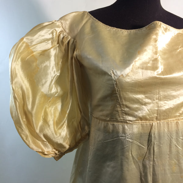 Candlelight Silk Regency Style Wedding Dress, Bodice and Corded Corset circa 1828