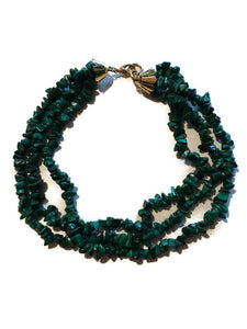 Natural Deep Green Genuine Stone Multistrand Necklace circa 1980s