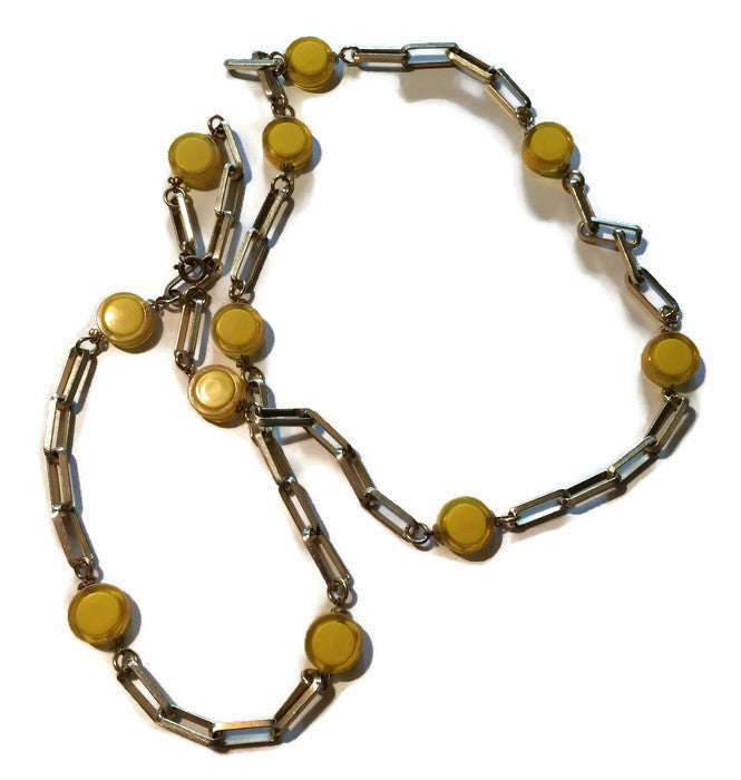 Lemon Yellow Discs and Links Necklace or Belt circa 1970s