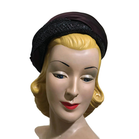 Metallic Bronze, Blue and Black Fabric Wrapped Pill Box Hat circa 1960s