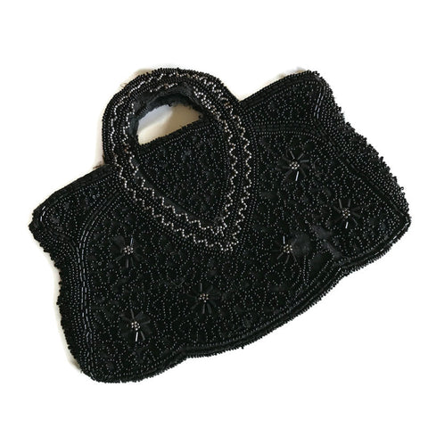 Belgian Black Beaded Small Scalloped Evening Handbag circa 1930s