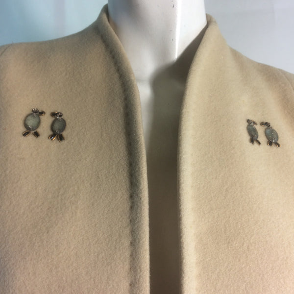 Elegant Ivory Wool Short Coat with Rhinestones and Beading circa 1940s