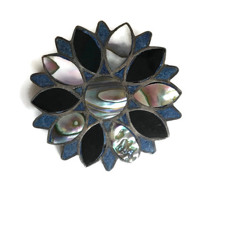 Iridescent Abalone, Black and Blue Inlaid Taxco Silver Flower Brooch circa 1940s