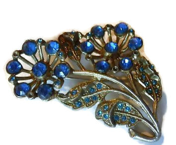 Blue Rhinestone Pot Metal Brooch circa 1940s