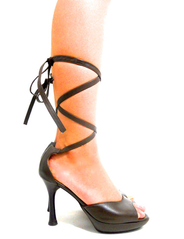 Strappy Brown Lace Up High Heel Sandals by Charles Jourdan circa 1980s