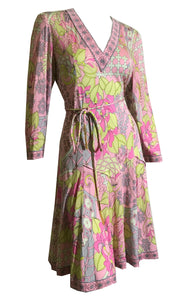 Averardo Bessi Abstract Floral Print Jersey Silk Dress w/ Dropped Waist and Chain Trimmed Sash circa 1960s