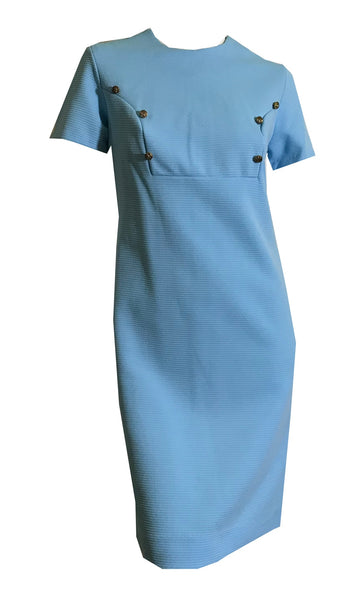 Military Inspired Button Trimmed Poly Baby Blue Shift Dress circa 1960s