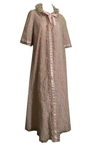 Pink and Candlelight Lace Robe and Nightgown Peignoir Set with Ribbons and Ruffles circa 1960s