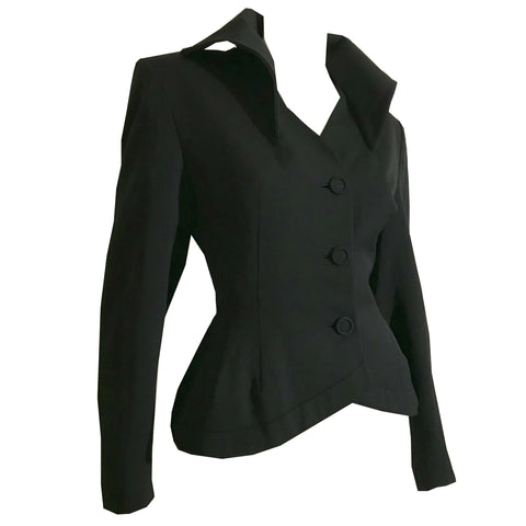 Bat Wing Collar Black Wool Niped Waist Jacket circa 1940s