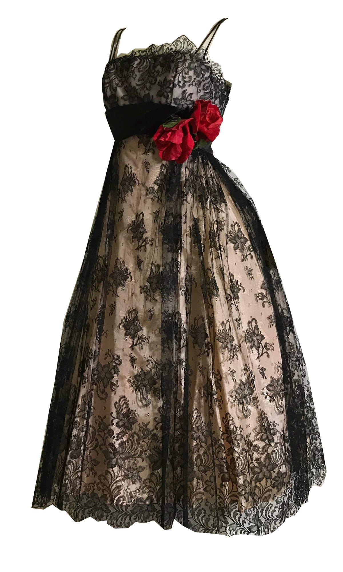 Breathtaking Black French Chantilly Party Dress with Red Velvet Roses circa 1960s