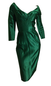 Oh So Bette Davis Green Silk Cocktail Dress circa 1950s