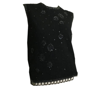 Black Cashmere Zip Back Sequined Sleeveless Sweater Top circa 1960s