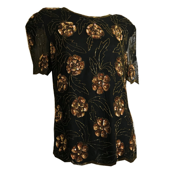 Copper and Gold Black Sequined and Beaded Blouse circa 1980s