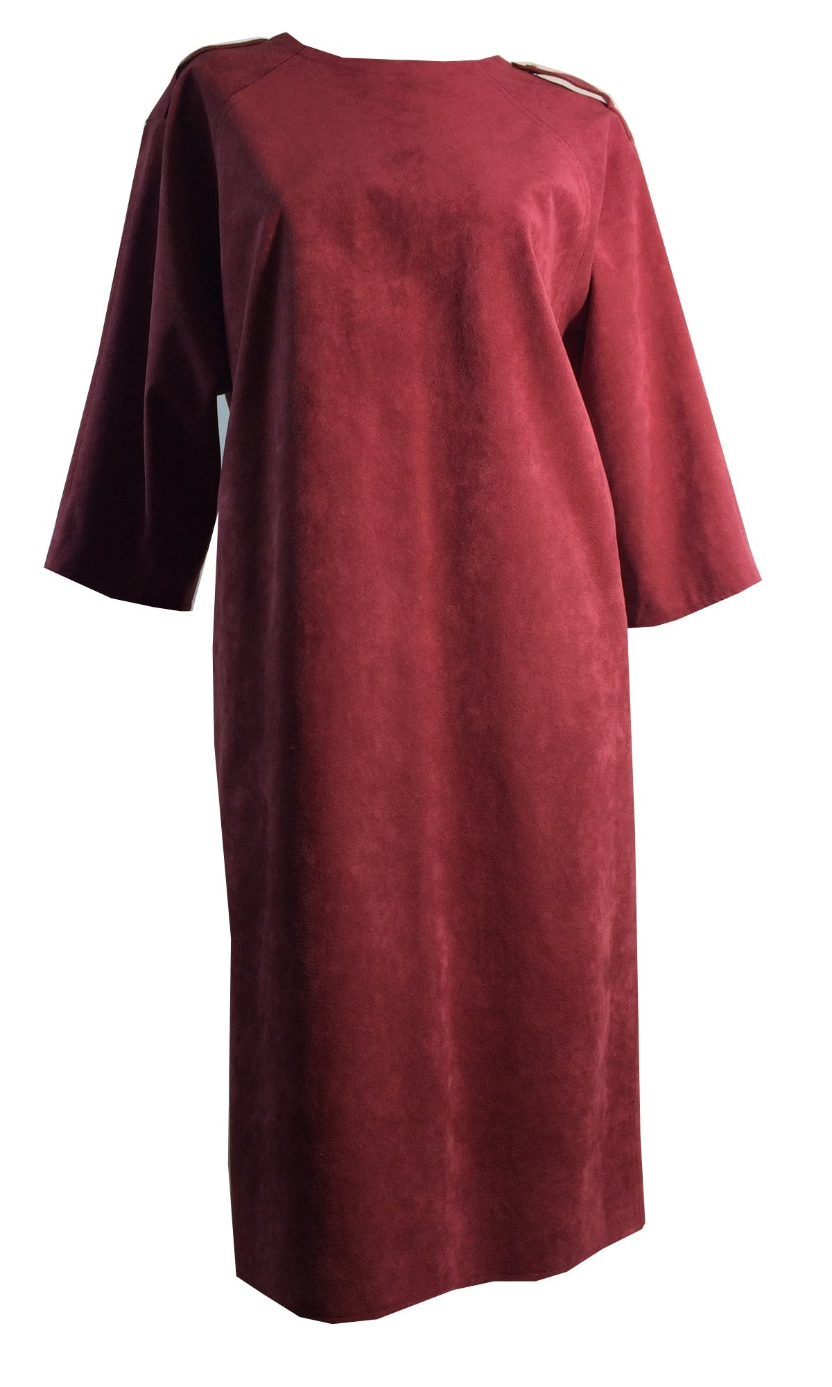 Raspberry Wine Ultrasuede Wedge Dress circa 1980s