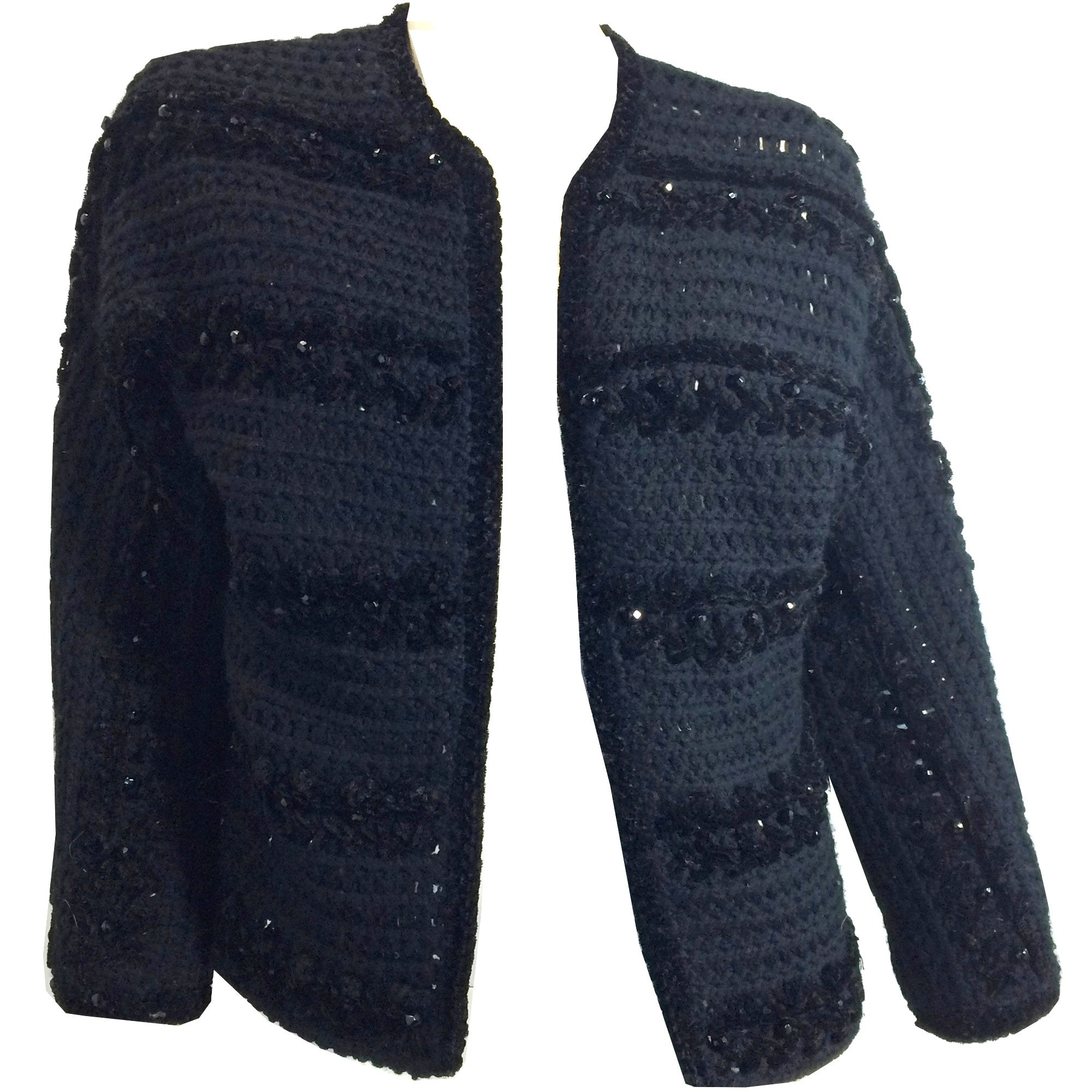 Lush Black Chenille Knit Beaded Cardigan Sweater circa 1960s