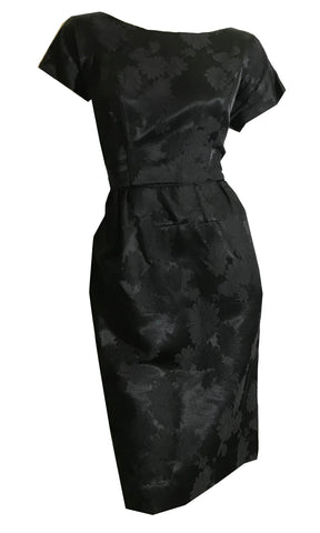 Black Floral Damask Silk Short Sleeved Cocktail Dress circa 1960s